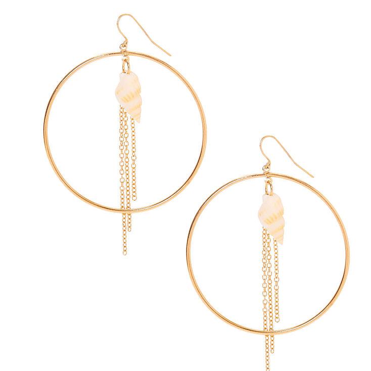 "Gold 2"" Seashell Circle Drop Earrings,"