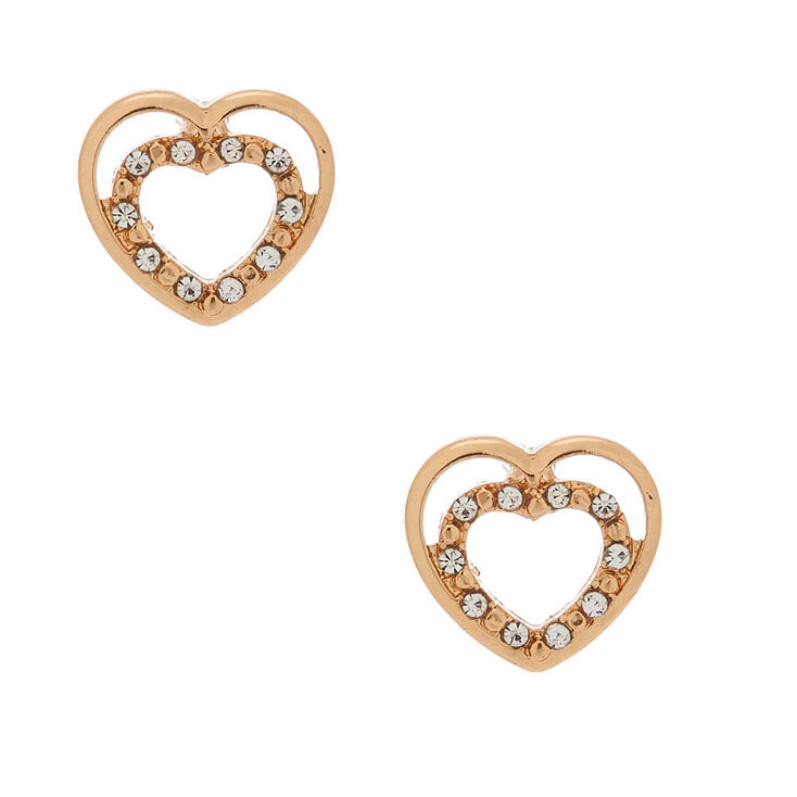 Gold Heart Stud Earrings,