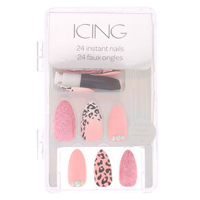 Leopard Bling Faux Nail Set - Pink, 24 Pack,