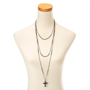 Black Triple Layer Cross Necklace,