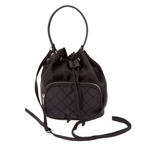 Nylon Mini Bucket Crossbody Bag - Black,
