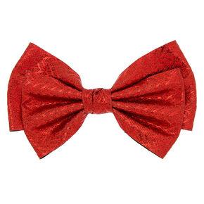 Glitter Chevron Hair Bow Clip - Red,