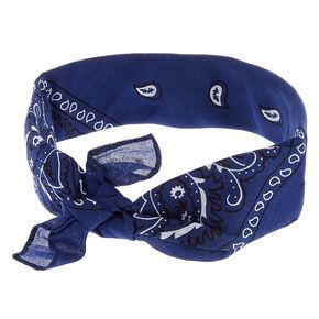 Blue Bandana Print Headwrap,