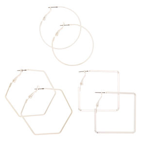 Silver 40MM Geometric Hoop Earrings - 3 Pack,