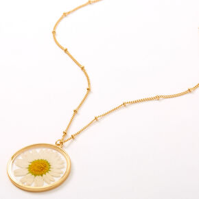 Gold Pressed Daisy Pendant Long Necklace,