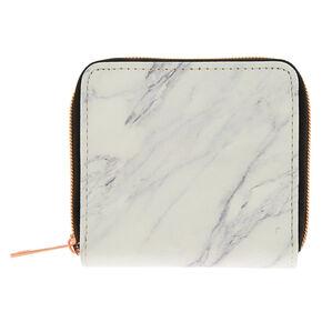 Marble Mini Zip Wallet - White,
