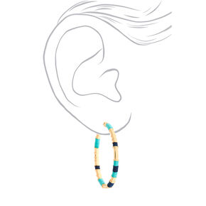 Gold 50MM Threaded Hoop Earrings - Mint,