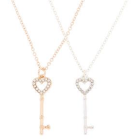 Best Friends Mixed Metal Key Pendant Necklaces - 2 Pack,
