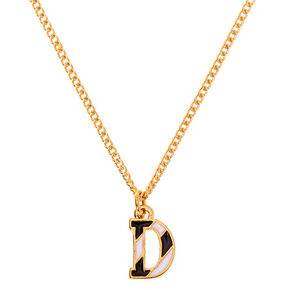 Gold Striped Initial Pendant Necklace - D,