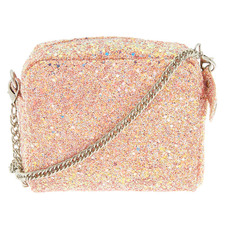 Mini Glitter Crossbody Bag - Pink,