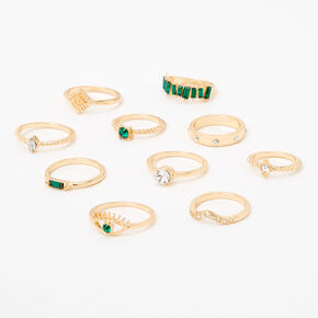 Gold Mixed Embellished Rings - Emerald, 10 Pack,