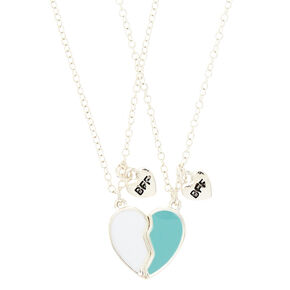 Best Friends Heart Pendant Necklaces - Mint,