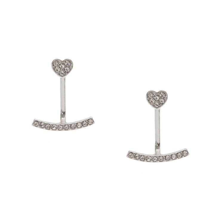Silver Tone Faux Crystal Heart Front & Back Ear Jacket Earrings,