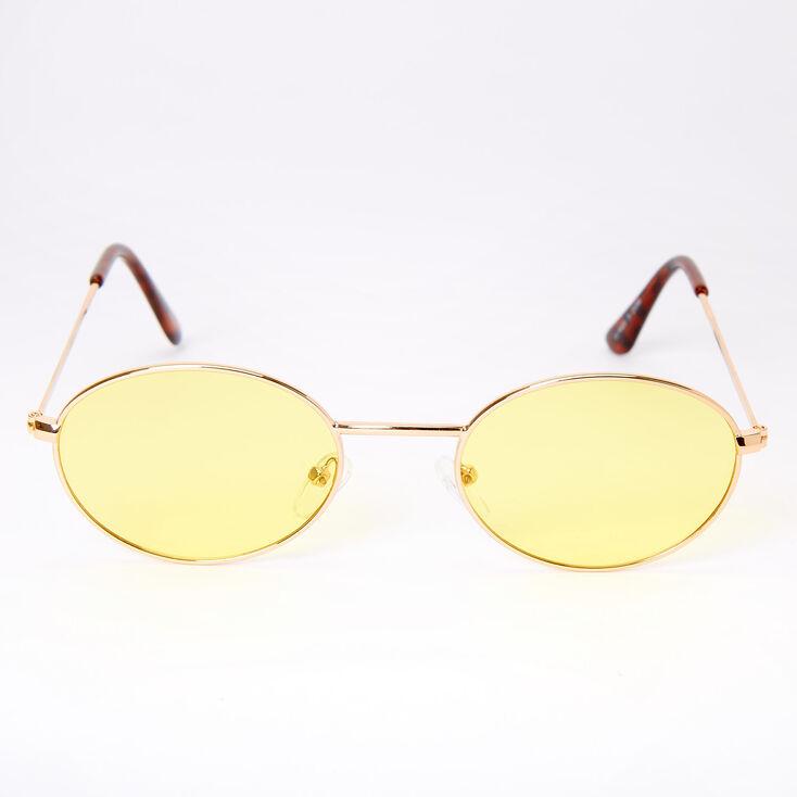 Slim Oval Sunglasses - Yellow,