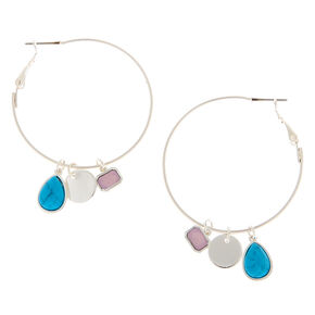 Silver 40MM Stone Charm Hoop Earrings - Turquoise,