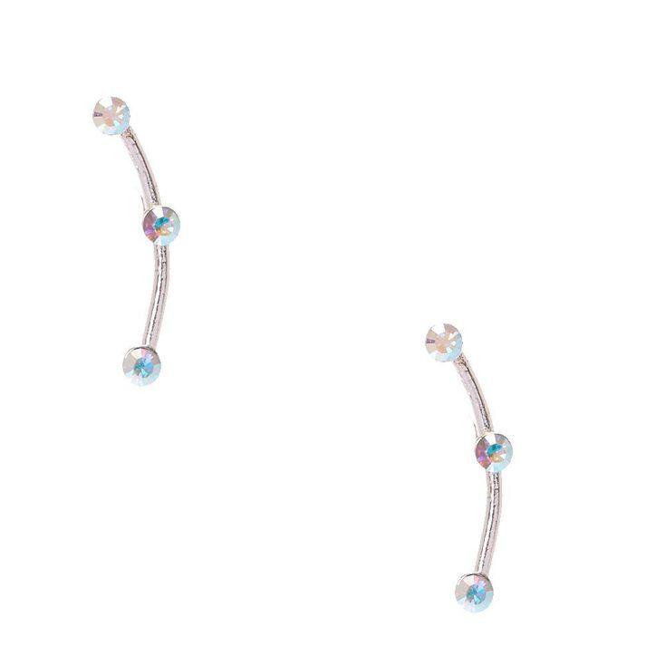 925 Sterling Silver Crystal Curve Earrings,