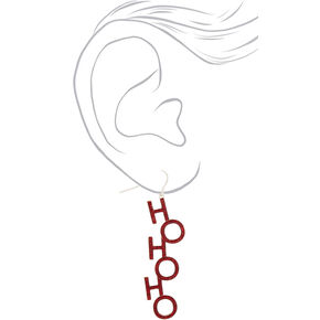 "Silver 2"" Ho Ho Ho Glitter Drop Earrings - Red,"