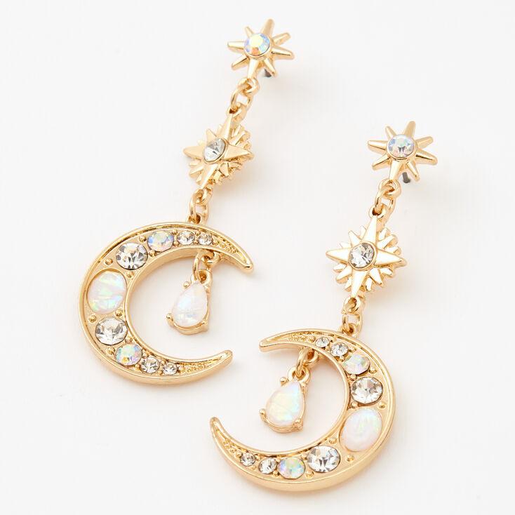 """Gold 2"""" Celestial Drop Earrings,"""