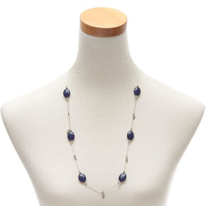 Silver Stone Long Necklace - Blue,