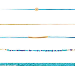 Turquoise & Gold Mixed Choker Necklaces - 5 Pack,