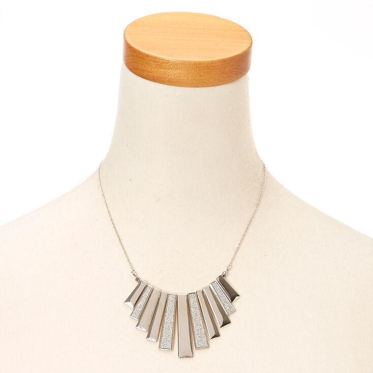 Silver Glitter Bar Fringe Necklace,