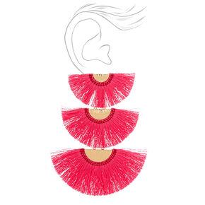 "4.5"" Tiered Crescent Tassel Drop Earrings - Pink,"