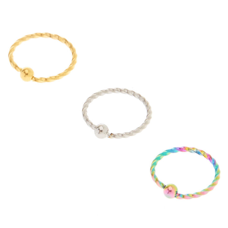 Mixed Metal Anodized Nose Rings,