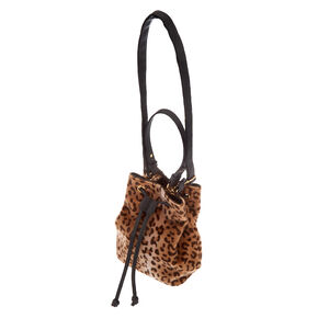 Faux Fur Leopard Bucket Crossbody Bag,