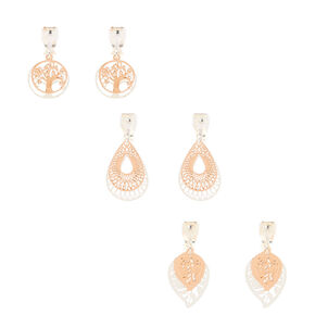 Mixed Metal Filigree Clip On Drop Earrings - 3 Pack,