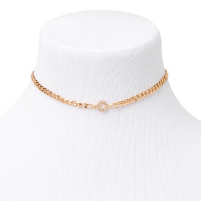 Gold Embellished Initial Chain Choker Necklace - C,