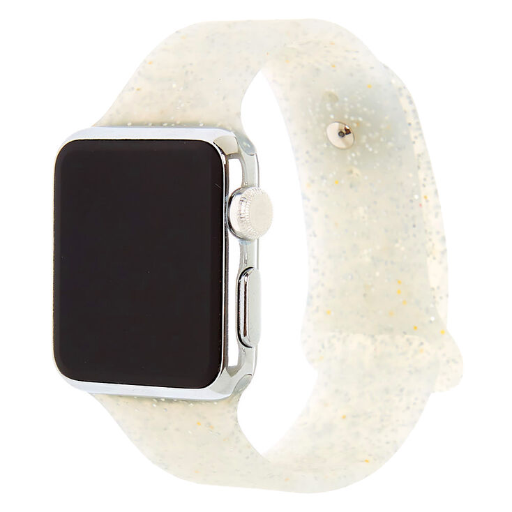 Silver Glitter Silicone Smart Watch Band - Fits 38MM/40MM Apple Watch,