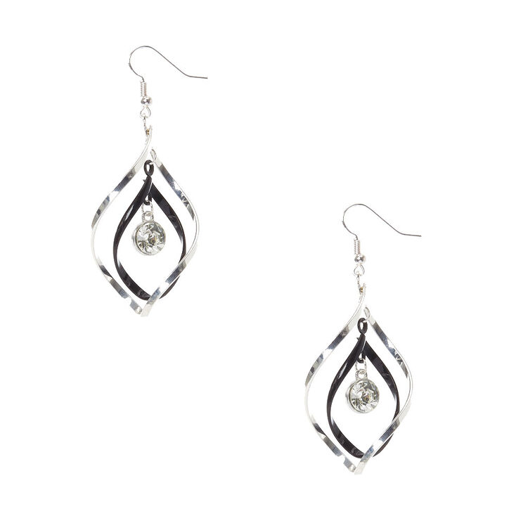 Twisted Silver-Tone And Black Spiral Drop Earrings,