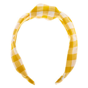 Gingham Knotted Headband - Yellow,