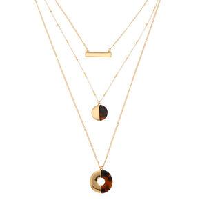 Gold Resin Tortoiseshell Bar Multi Strand Necklace,