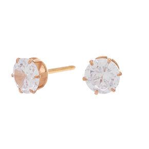 Rose Gold Titanium Cubic Zirconia 6MM Round Stud Earrings,