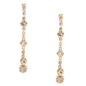 "1.5"" Gold Linear Faux Rhinestone Drop Earrings,"