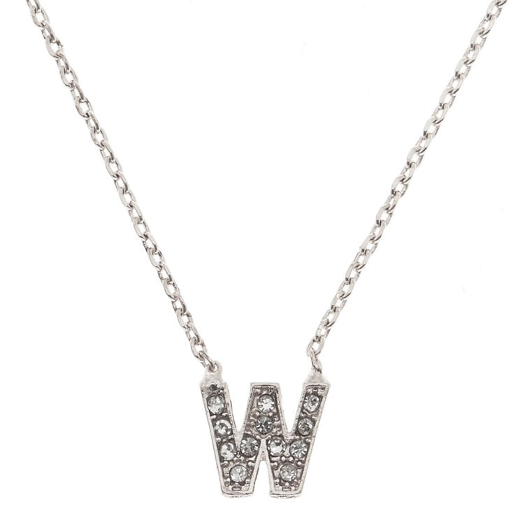 "Silver Studded ""W"" Initial Necklace,"