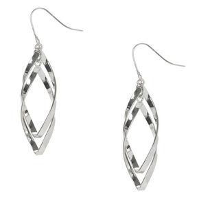 "Silver 2"" Curved Double Ribbon Drop Earrings,"