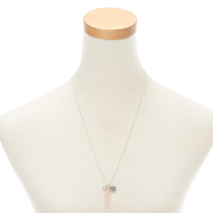 Healing Crystal & Star Pendant Necklace - Pink,
