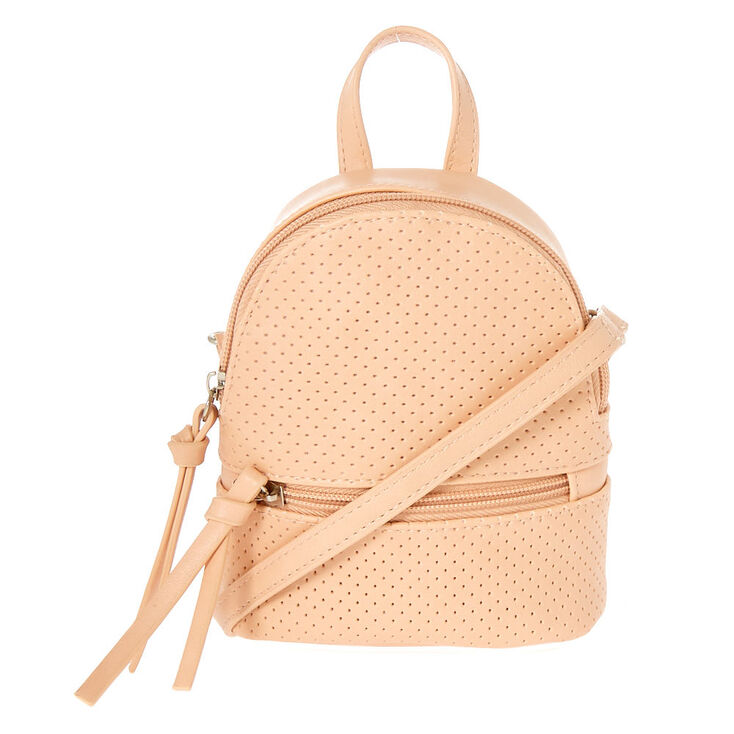 Perforated Mini Backpack Crossbody Bag - Pink,