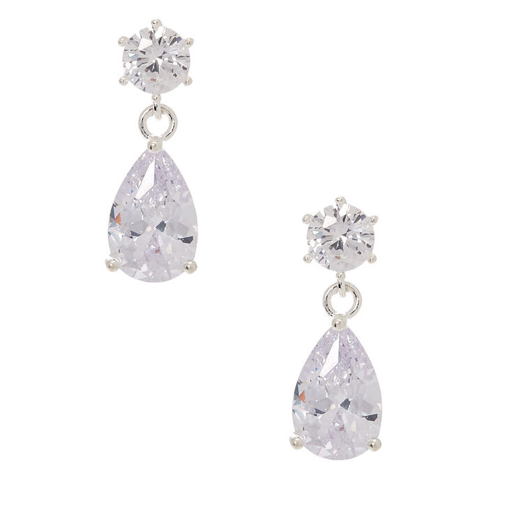 "Silver Cubic Zirconia 1"" Teardrop Drop Earrings,"