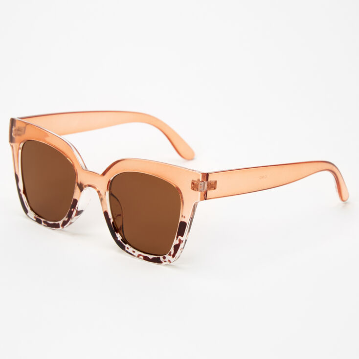 Two Tone Tortoseshell Retro Sunglasses - Nude,