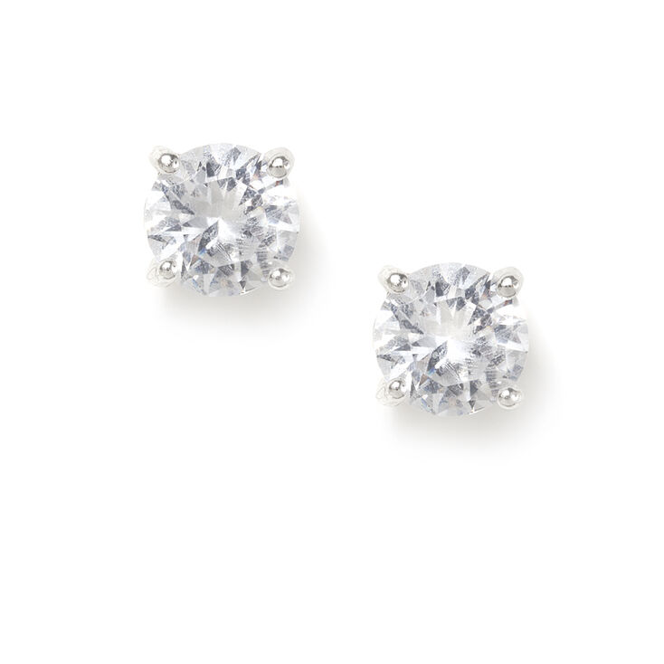8MM Round Cubic Zirconia Four Prong Set Stud Earrings,