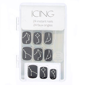Matte Constellation Faux Nail Set - Black, 24 Pack,