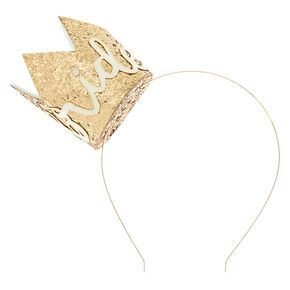 Glitter Bride Crown Headband - Gold,