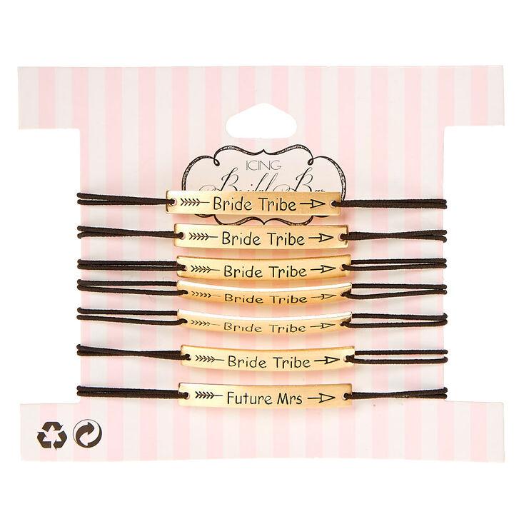7 Pack Bride Tribe Double Stretch Bracelet Set,