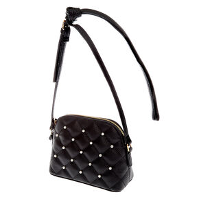 Quilted Pearl Crossbody Bag - Black,