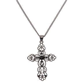 Hematite Ornate Cross Long Pendant Necklace,