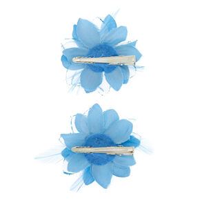 Glitter Lily Flower Hair Clips - Baby Blue, 2 Pack,