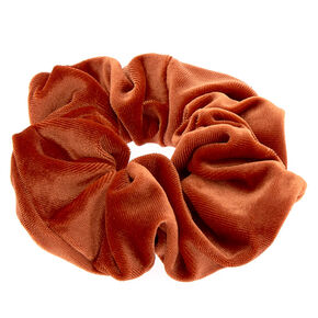 Oversized Velvet Hair Scrunchie - Copper Orange,